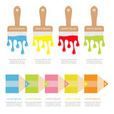 Four Five step Timeline Infographic template set. Paintbrush, pencil icon. Color drops. Flowing down dripping paint. Flat design W Stock Image