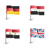 Four flags isolated on white Stock Image