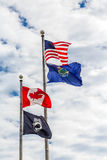Four Flags in Portland Maine Stock Images