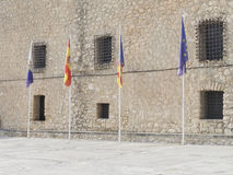 Four flags of Spain and the EU Stock Photography