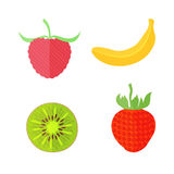 Four Flat Fruits with Texture. Four Flat Vector Fruits with Texture in Oblique White Lines. Vector Illustration of a Banana, Kiwi, Strawberry and Raspberry Stock Image