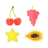 Four Flat Fruits with Texture. Four Flat Vector Fruits with Texture in Oblique White Lines. Vector Illustration of a Grape, Papaya, Carambole and  Cherry. Vector Royalty Free Stock Photo