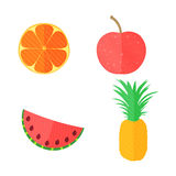 Four Flat Fruits with Texture. Four Flat Vector Fruits with Texture in Oblique White Lines. Vector Illustration of an Orange, Apple, Watermelon and Pineapple Stock Images