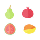 Four Flat Fruits with Texture. Four Flat Vector Fruits with Texture in Oblique White Lines. Vector Illustration of a Pomegranate,  Mango, Guava and Pear. Vector Stock Photos
