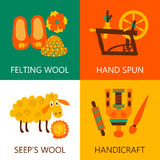Four flat wool felting concept Royalty Free Stock Photo