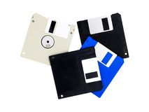 Two floppy disk. Four floppy disk or diskette for PC computer isolated on white background Royalty Free Stock Image