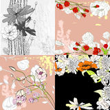 Four floral background. Universal template for greeting card, web page, background Royalty Free Stock Photo
