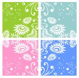 Four floral backgrounds Stock Photography