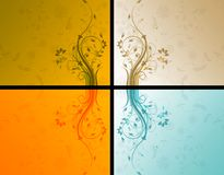 Four floral backgrounds Stock Image