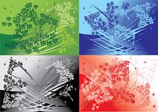 Four floral backgrounds set. Illustration with four floral backgrounds collection vector illustration