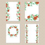 Four floral cards Stock Photo