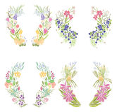 Four floral frames Royalty Free Stock Image