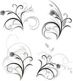 Four floral ornaments Stock Images