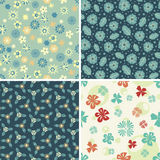 Four floral patterns Stock Photo