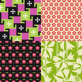Four floral patterns. Vector set of four colorful seamless patterns with geometric floral texture Royalty Free Stock Images