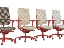 Four floral red office armchairs isolated Royalty Free Stock Images