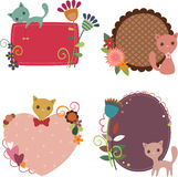 Cats retro stickers. Four floral retro stickers with cute cats Royalty Free Stock Photography