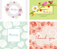 Four floral thank you cards royalty free stock photos