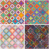 Four flower color set seamless pattern Stock Photo