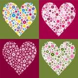 Four Flower Filled Hearts stock illustration