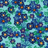 Four flower group leaf seamless pattern stock image