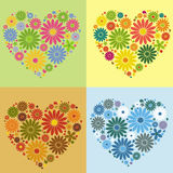 Four flower heart Stock Photos