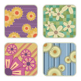 Four flower patterns Royalty Free Stock Photography