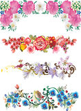 Four flower strips collection. Illustration with flower strips collection Stock Illustration