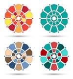 Four flowery mandala isolated Royalty Free Stock Photos