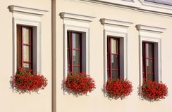 Four flowery windows in a row Stock Photo