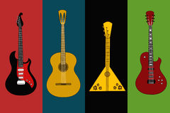 Four  flyers with guitars Royalty Free Stock Photos