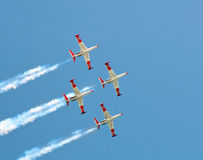 Four flying aircraft Fouga CM.170 Magistere . Parade of the Israeli Air Force. Four aircraft Fouga CM.170 Magister french production Stock Photo