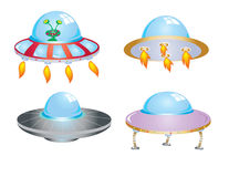 Four flying saucers Stock Image