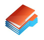 Four folders with paper. Folder stack. Folders icon isolated on white Royalty Free Stock Photos