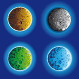 Four fool moon surface. In different colors vector illustration
