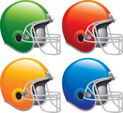 Four Football helmets. Multiple colored pictures of football helmets Royalty Free Stock Photo
