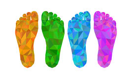 Four footprint left and right foot bottom view low poly polygon Royalty Free Stock Image