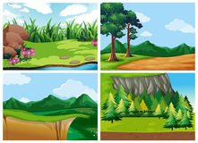 Four forest scenes at daytime stock illustration