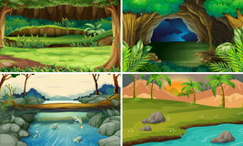 Four forest scenes with trees and rivers. Illustration Stock Photos