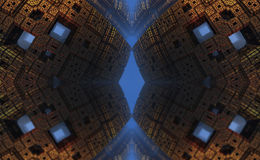 Four fractal make  abstract geometric composition-3d rendering Stock Photo