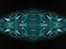 Four fractal make  abstract geometric composition-3d rendering Royalty Free Stock Photos