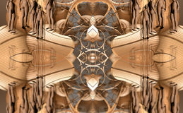 Four fractal make  abstract geometric composition-3d rendering Royalty Free Stock Photography