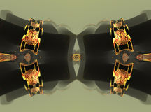 Four fractal make  abstract geometric composition-3d rendering Stock Image