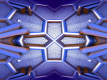 Four fractal make  abstract geometric composition-3d rendering Stock Images