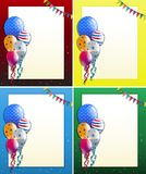Four frame designs with balloons and party flags. Illustration vector illustration