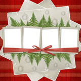Four frame with ribbons and bow to old photos Royalty Free Stock Images