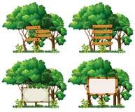 Four frame templates on big trees stock illustration