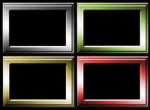 Four frames. Four color frames to insert text or design. red, green, gold and chrome versions Royalty Free Stock Images