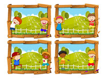 Four frames with children and hopscotch Royalty Free Stock Image
