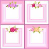 Four Frames with Decorative Flowers Color Banner. Four frames with decorative flowers, color banner, square shape, lilac and pink, yellow and white roses, green Royalty Free Stock Photography